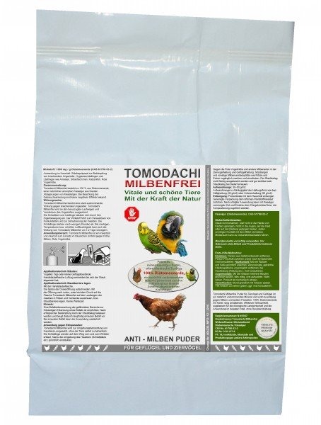 Anti-Milben Puder, Milbenpulver, Vogelmilbenfrei Kieselgur, Tomodachi Milbenfrei 5kg Sack