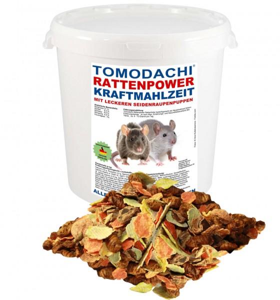 Rattenfutter mit Seidenraupen, wenig Pellets, viel Gemüse, Tomodachi Rattenpower Kraftmahlzeit 1kg