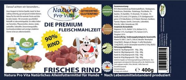 Hundefutter, Frisches Rind, 90% Rind, getreidefrei, Mono Protein Fleischmahlzeit Hund, 24x 400g
