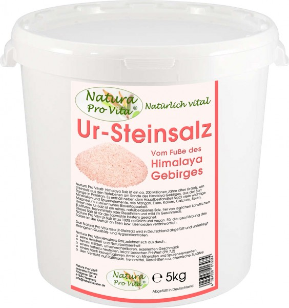 Himalajasalz, UrSteinsalz, NaturaProVita UrSalz, unraffiniert, rosa Steinsalz, natürlich, rein 5kg