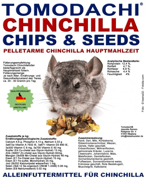 Chinchillafutter, Komplettnahrung für Chinchillas Tomodachi Chinchilla Futtermischung 10kg