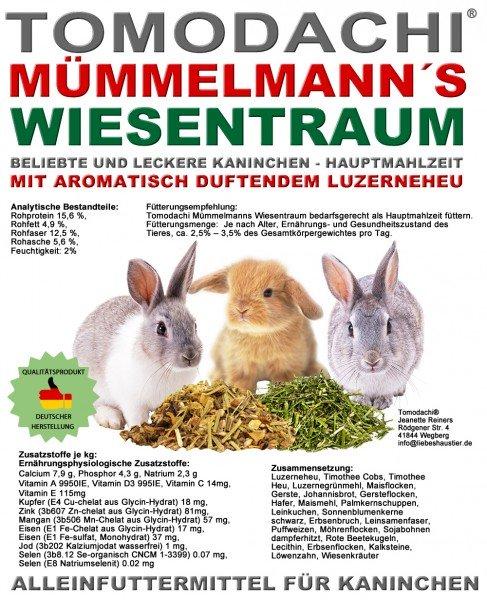 Kaninchenfutter, Raufutter Hase, Luzerneheu, Gemüse, Strukturfutter, Mümmelmanns Wiesentraum 10kg