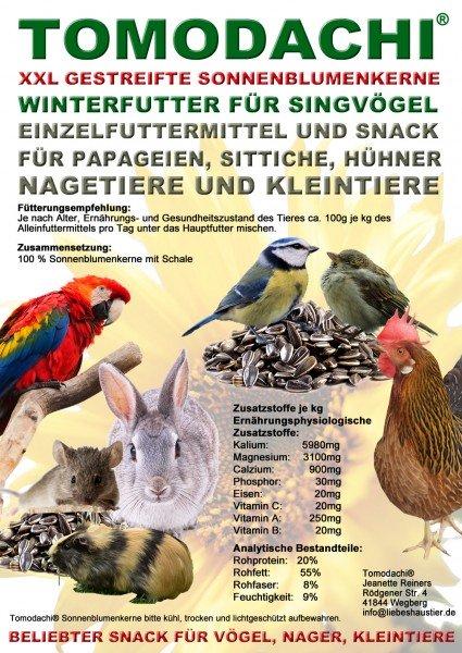 Vogelfutter Sonnenblumerne gestreift, XXL, Wildvogel, Singvogel, Winterfutter Energiefutter 10kg
