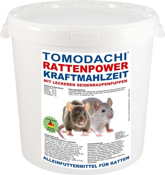 Rattenfutter mit Seidenraupen, wenig Pellets, viel Gemüse, Tomodachi Rattenpower Kraftmahlzeit 10L