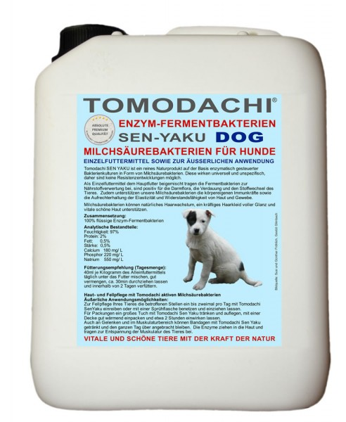 Milchsäurebakterien Hund, Verdauung, Haut, Fell, Futterzusatz und äußerliche Anwendung 5L