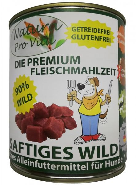 Hundefutter, Saftiges Wild, Premium Fleischmahlzeit, 90% Wild, getreidefrei, glutenfrei 800g Dose