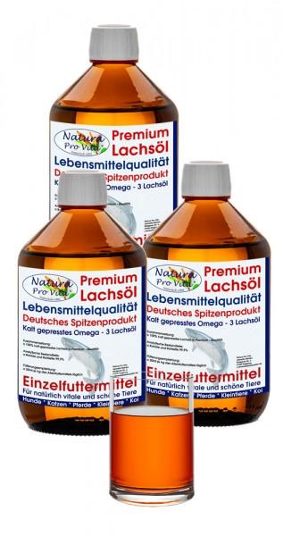 Lachsöl für Hunde, Lebensmittelqualität, kaltgepresst, BARF Zusatz, Stoffwechsel, Fell, Verdauung 3L