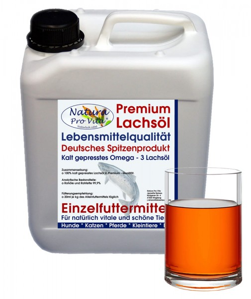 Lachsöl Pferd, Lebensmittelqualität, kaltgepresst, Stoffwechsel, Verdauung, Fellwechsel, Haut 5L