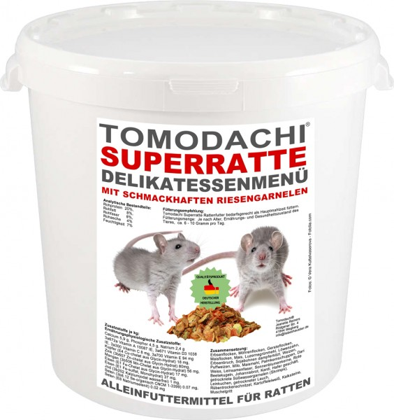 Rattenfutter mit Gambas, Möhrenflocken, Erbsenflocken, wenig Pellets, Tomodachi Superrattenmenü 10 L
