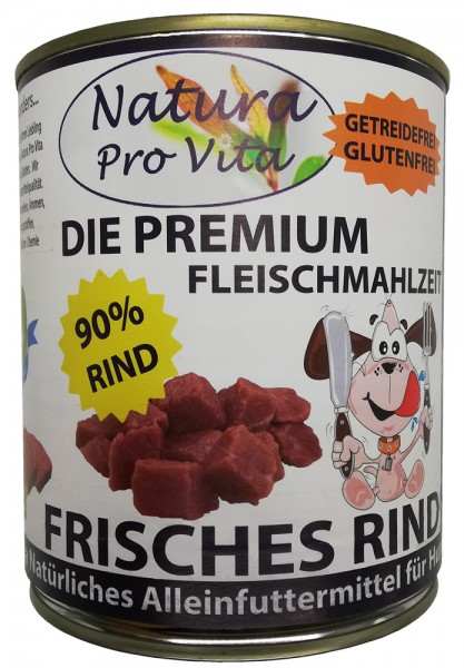 Hundefutter, Frisches Rind, Premium Fleischmahlzeit, 90% Rind, getreidefrei, glutenfrei 400g Dose