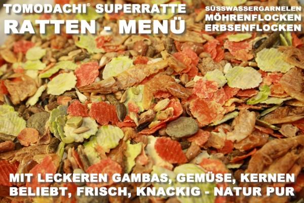 Rattenfutter mit Süßwassergarnelen, wenig Pellets viel Gemüse, Tomodachi Superrattenmenü 10kg