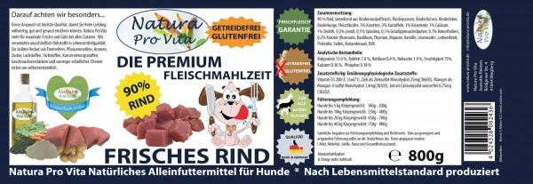 Hundefutter, Frisches Rind, Premium Fleischmahlzeit, 90% Rind, getreidefrei, glutenfrei, 24x 800g