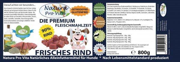 Hundefutter, Frisches Rind, Premium Fleischmahlzeit, 90% Rind, getreidefrei, glutenfrei, 12x 800g