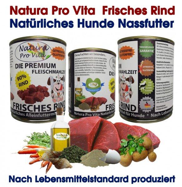 Hundefutter, Frisches Rind, 90% Rind, getreidefrei, Premium Fleischmahlzeit für Hunde 30x 400g
