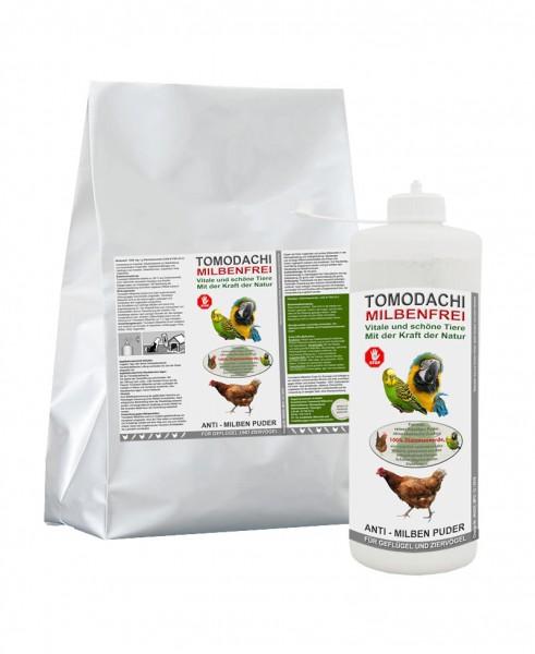 Vogelmilben Frei, Anti-Milben Puder, Milbenpulver 2kg + 100g Stäubeflasche, Set Tomodachi Milbenfrei