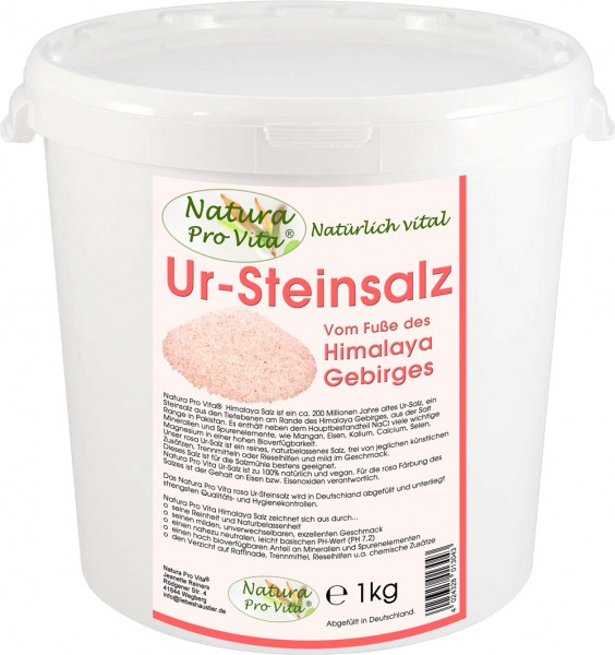 Himalajasalz, UrSteinsalz, Natura Pro Vita UrSalz, natürlich, rein, unraffiniert, rosa Steinsalz 1kg