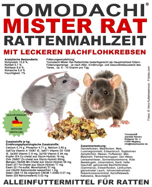 Rattenfutter, Alleinfutter Ratte mit Bachflohkrebsen, Rattenmahlzeit Tomodachi® Mister Rat 5kg