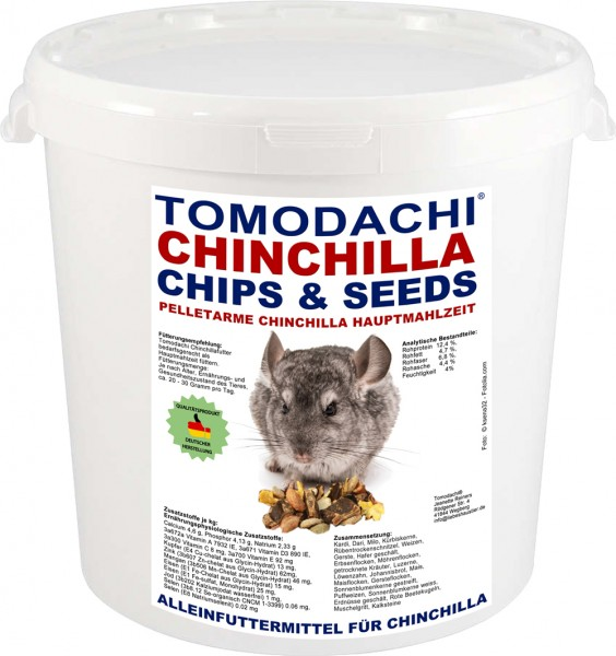 Chinchillafutter, Komplettnahrung für Chinchillas Tomodachi Chinchilla Futtermischung 2kg