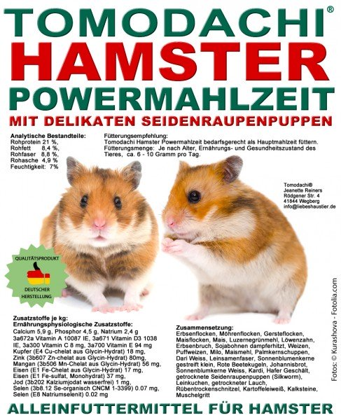 Hamsterfutter mit Seidenraupen, Tomodachi Hamster Powermahlzeit, Alleinfutter 5kg