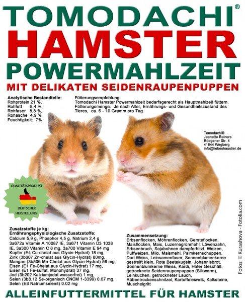 Hamsterfutter mit Seidenraupen, Alleinfutter, Tomodachi Hamster Powermahlzeit 10kg