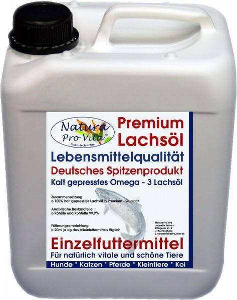 Lachsöl Kaninchen und Nager, Lebensmittelqualität, kaltgepresst, gut für Verdauung, Haut, Fell 10L