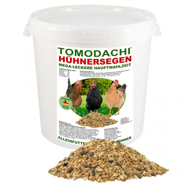 Hühnerfutter, Naturprodukt, Komplettnahrung für Geflügel Tomodachi Hühnersegen 3kg