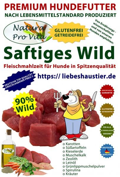 Hundefutter, Saftiges Wild, Premium Fleischmahlzeit, 90% Wild, getreidefrei, glutenfrei, 54x 400g