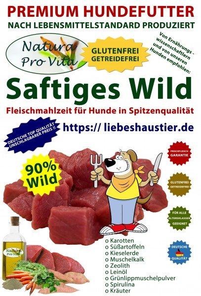 Hundefutter, Saftiges Wild, Premium Fleischmahlzeit, 90% Wild, getreidefrei, glutenfrei, 30x 800g