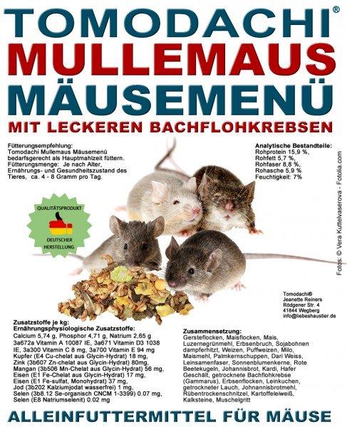 Komplettfutter Maus, Bachflohkrebse, Gemüse, Getreide, Mäusefutter, Tomodachi Mäusemenü 10kg