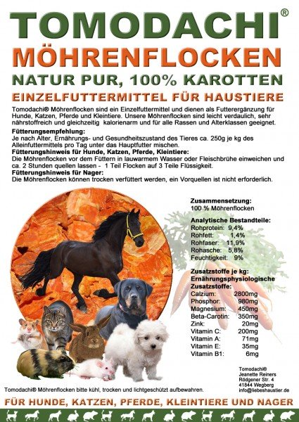 Möhrenflocken, Karotten Hund, BARF Gemüse Verdauung, Stoffwechsel, Immunsystem 10kg