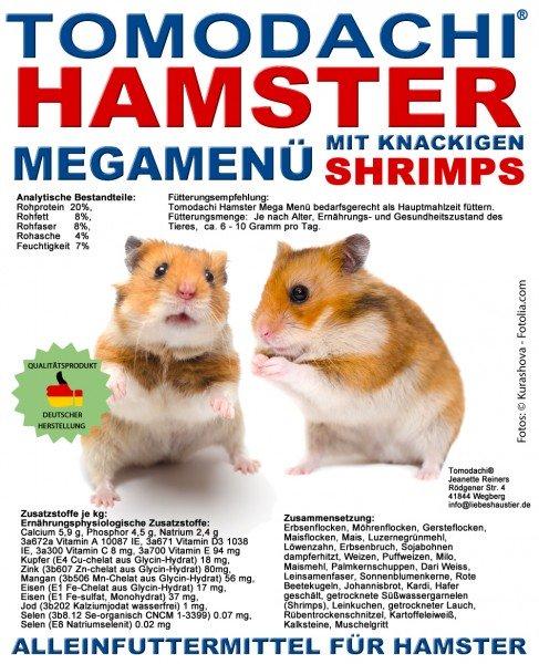 Hamsterfutter mit Shrimps - Garnelen, Komplettfuttermischung Hamster Tomodachi MegaMenü 10kg