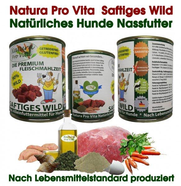 Hundefutter, Saftiges Wild, Premium Fleischmahlzeit, 90% Wild, getreidefrei, glutenfrei, 6x 400g