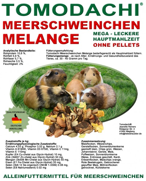 Nagerfutter, Meerschweinchenfutter pelletfrei, Naturfutter, Alleinfutter, kernig, lecker 10kg