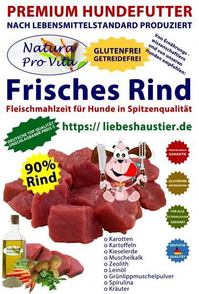Hundefutter, Frisches Rind, 90% Rind, getreidefrei, Single Protein Alleinfutter für Hunde, 48x 400g