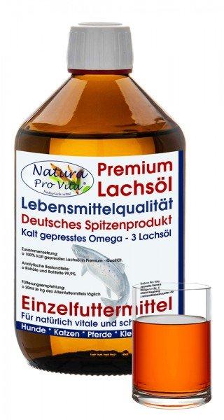 Lachsöl Hund, Lebensmittelqualität, kaltgepresst, BARF Zusatz, Stoffwechsel, Fell, Verdauung, 500ml