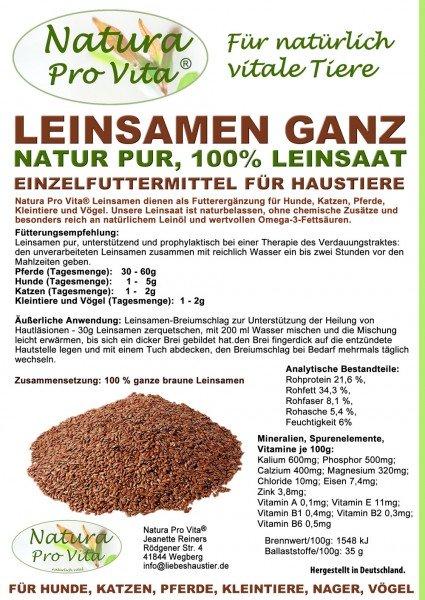 Leinsamen Pferd gut für Verdauung, Omega-3, natürlicher Magenschutz, Darmschutz, NaturaProVita 10kg