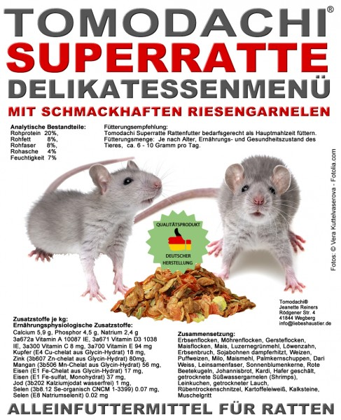 Rattenfutter mit Shrimps. wenig Pellets, viel Gemüse, Kerne, Tomodachi Superratte Rattenmenü 5kg