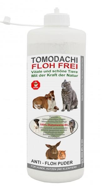 Kieselgur Flohmittel Hund, Katze, Kaninchen, Anti-Floh Puder, Flohpulver 1 L Stäubeflasche