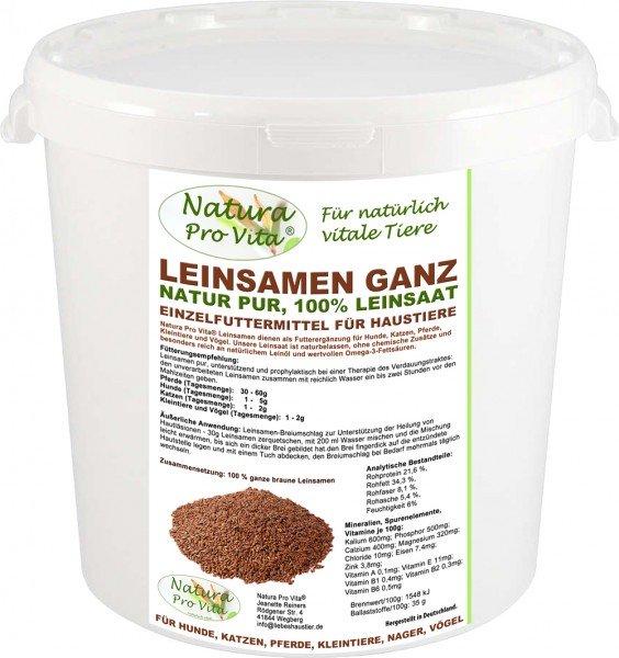 Leinsamen Nagerfutter, Fellglanz, gut für Verdauung, Magen, Darm, Natur-Leinsaat NaturaProVita 3kg