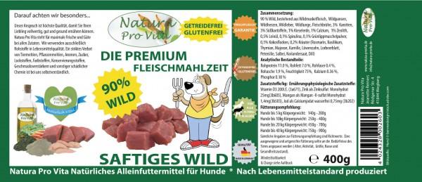 Hundefutter, Saftiges Wild, Premium Fleischmahlzeit, 90% Wild, getreidefrei, glutenfrei, 18x 400g