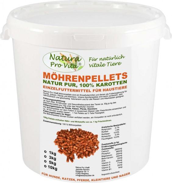Möhrenpellets für Hunde, BARF Gemüse, Diätfutter, Stoffwechsel, Verdauung, NaturaProVita 1kg