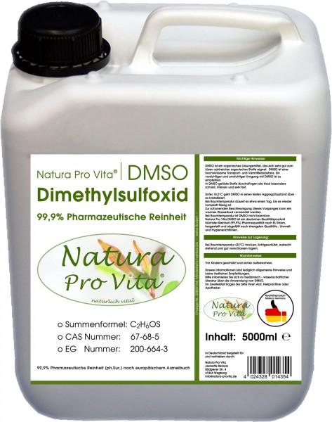 DMSO 99,9% Reinheit, Pharmaqualität, Natura Pro Vita DMSO, transdermale Anwendungen beim Tier 5L