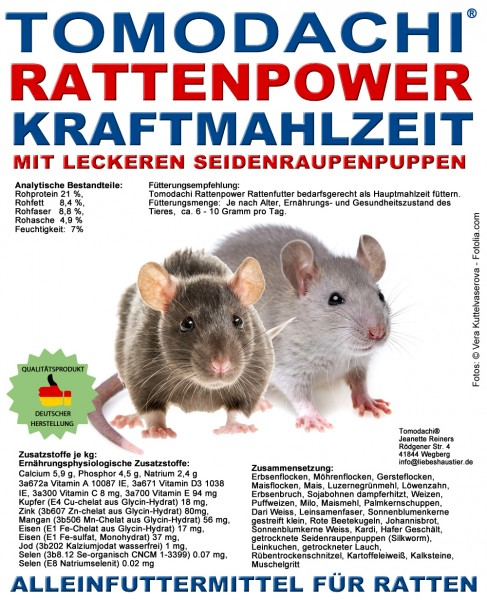 Rattenfutter Seidenraupen, Möhrenflocken, Erbsenflocken, wenig Pellets Tomodachi Rattenpower 10kg