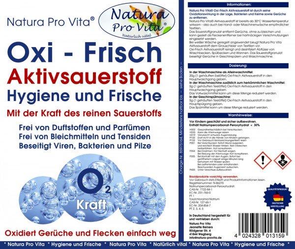 Aktivsauerstoff parfümfrei, Allergikerwäsche, Hygiene mit Sauerstoff, NaturaProVita Oxi-Frisch 20kg