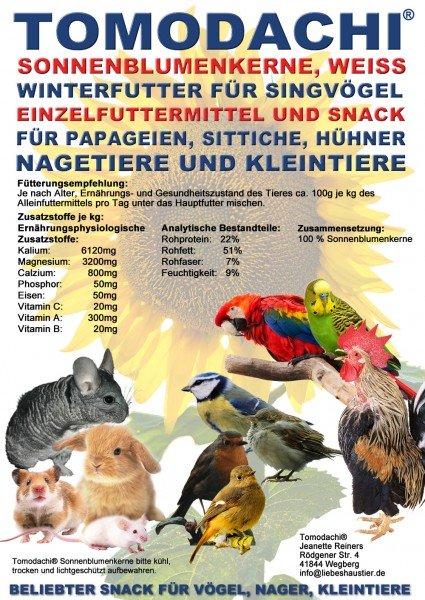 Energievogelfutter, Winterfutter, Sonnenblumenkerne weiß, Vogelfutter, Vogelsnack 5kg