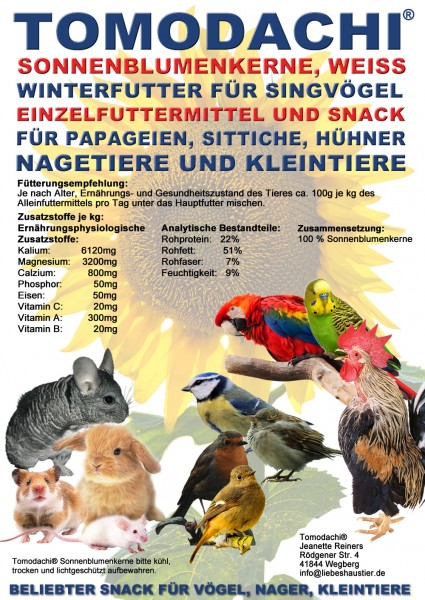 Kaninchenfutter, Nagerfutter, Sonnenblumenkerne weiß, Nagerbelohnung, Kaninchensnack, 10kg